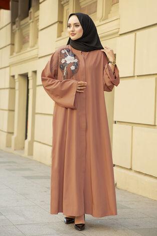 Nakışlı Taş Detaylı Abaya Elbise 170ASH-11455 Şeftali - Thumbnail