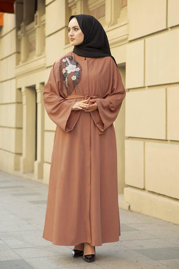 Nakışlı Taş Detaylı Abaya Elbise 170ASH-11455 Şeftali