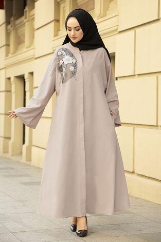 Nakışlı Taş Detaylı Abaya Elbise 170ASH-11455 Vizon - Thumbnail