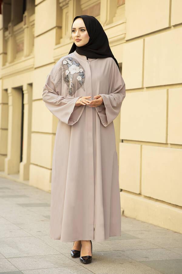 Nakışlı Taş Detaylı Abaya Elbise 170ASH-11455 Vizon