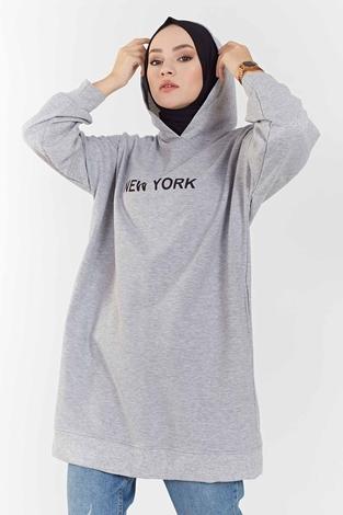 MD - New York Baskılı Spor Tunik 100MD7323 Gri (1)
