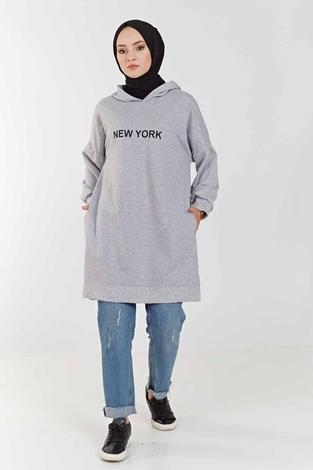 MD - New York Baskılı Spor Tunik 100MD7323 Gri