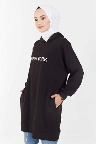 MD - New York Baskılı Spor Tunik 100MD7323 Siyah (1)