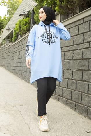 Siyah New York Yazılı Spor Tunik 120NY-4875 Mavi - Thumbnail