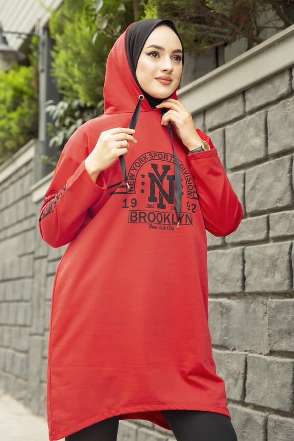 Siyah New York Yazılı Spor Tunik 120NY-4875 Kırmızı