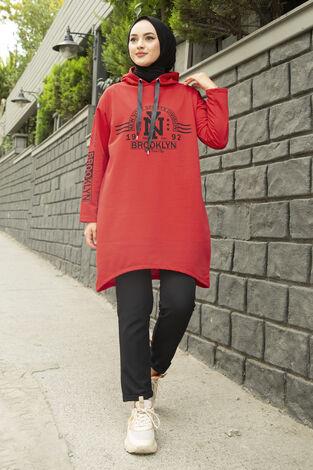 Siyah New York Yazılı Spor Tunik 120NY-4875 Kırmızı - Thumbnail