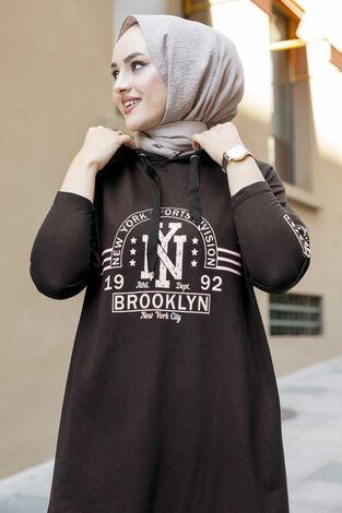 New York Yazılı Spor Tunik 120NY-4875 Kahve - Thumbnail