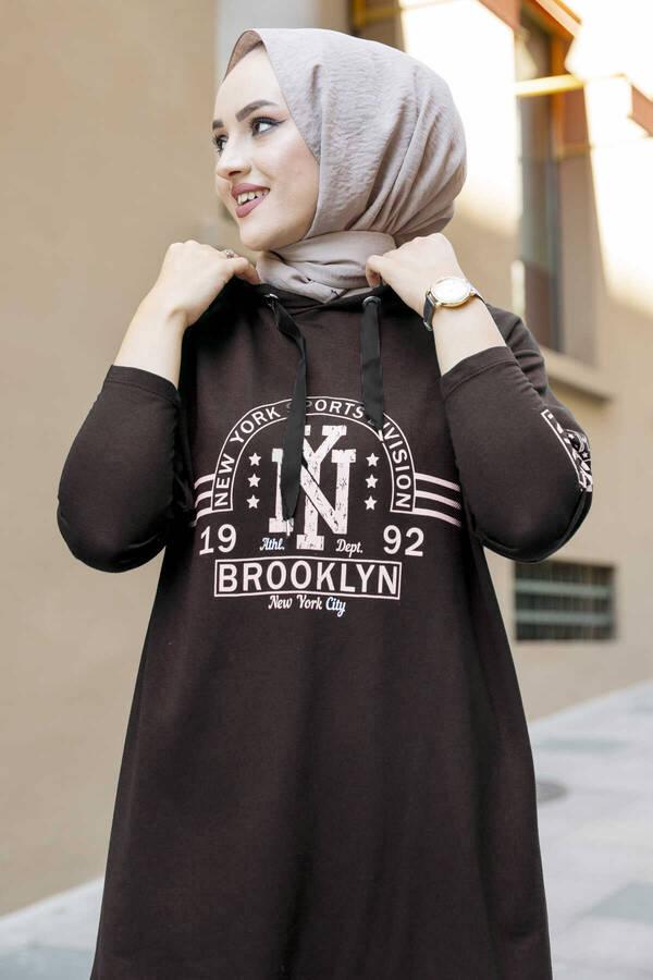 New York Yazılı Spor Tunik 120NY-4875 Kahve