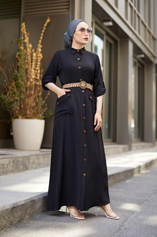 NTV Boydan Düğmeli Cepli Elbise 7834-1 Siyah - Thumbnail