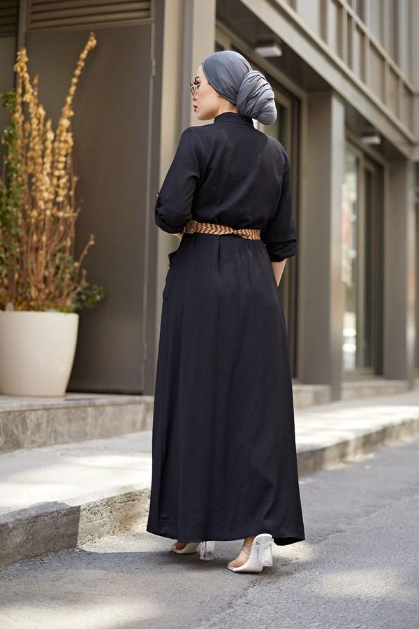NTV Boydan Düğmeli Cepli Elbise 7834-1 Siyah