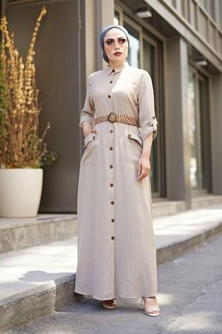 NTV Boydan Düğmeli Cepli Elbise 7834-2 Bej - Thumbnail
