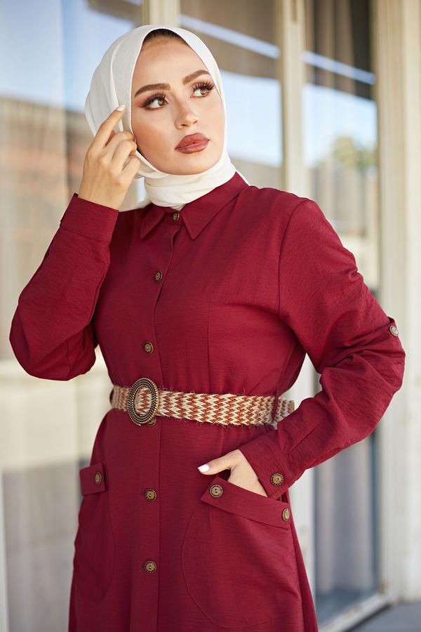 NTV Boydan Düğmeli Cepli Elbise 7834-3 Bordo