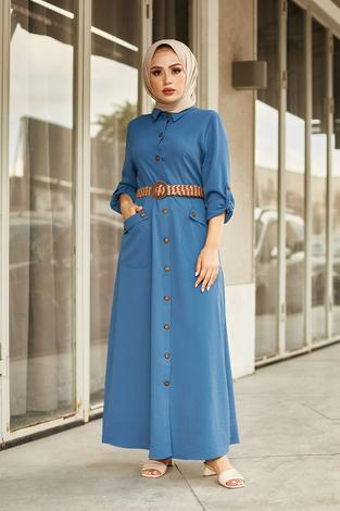 NTV Boydan Düğmeli Cepli Elbise 7834-4 İndigo - Thumbnail