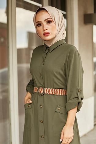 NTV Boydan Düğmeli Cepli Elbise 7834-5 Haki - Thumbnail