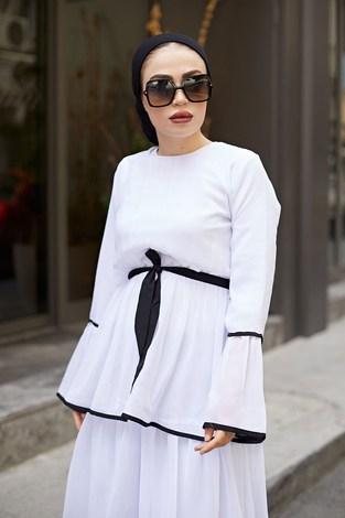 NTV Şifon Kat Kat Elbise 3086-02 Beyaz - Thumbnail