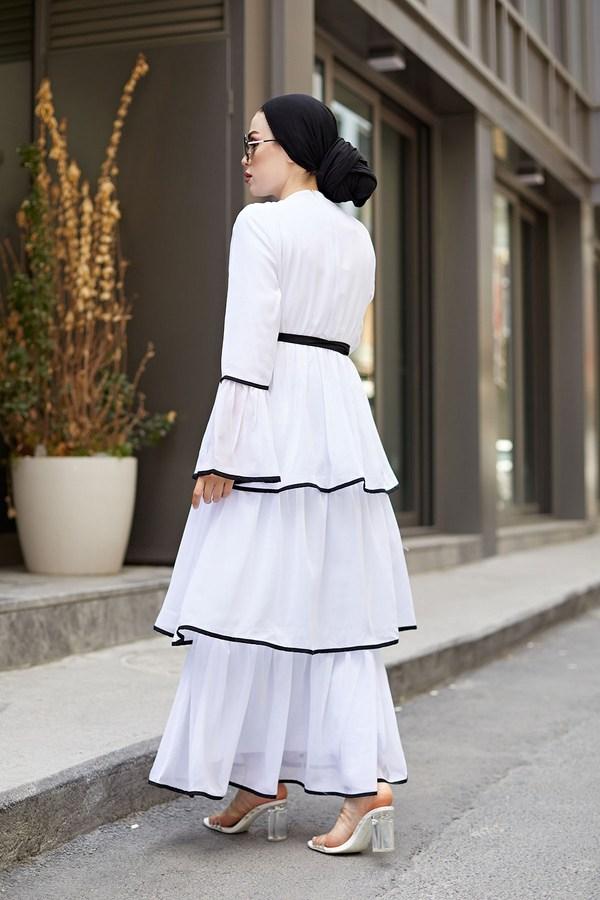 NTV Şifon Kat Kat Elbise 3086-02 Beyaz