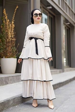 NTV Şifon Kat Kat Elbise 3086-04 Vizon - Thumbnail