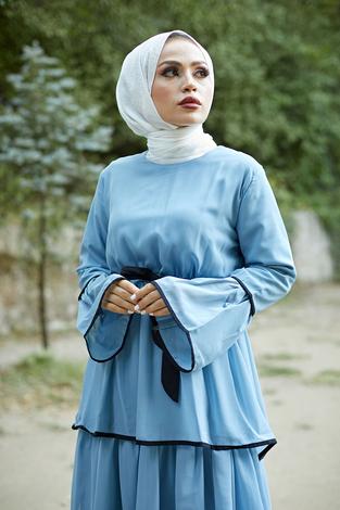 NTV Şifon Kat Kat Elbise 3086-07 İndigo - Thumbnail