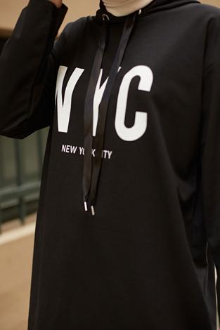 AVEN NYC Spor Sweat 8422-1 Siyah - Thumbnail