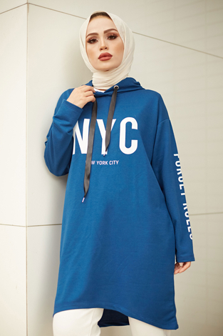 AVEN NYC Spor Sweat 8422-4 İndigo - Thumbnail