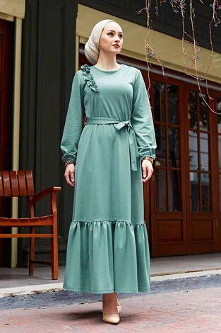 Omuz Fırfırlı Elbise 220SH-6741 Mint - Thumbnail