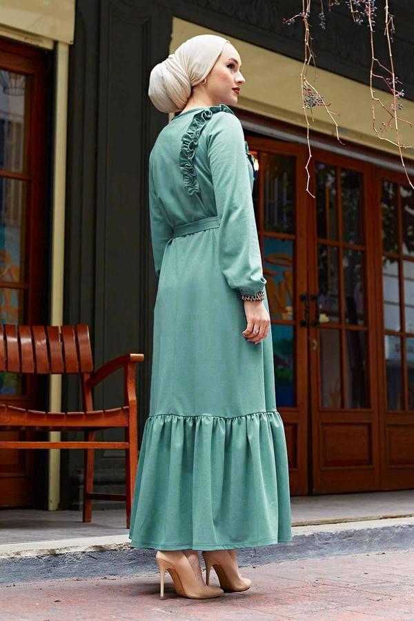 Omuz Fırfırlı Elbise 220SH-6741 Mint