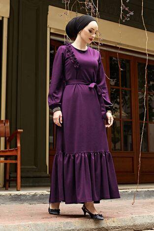 Omuz Fırfırlı Elbise 220SH-6741 Mürdüm - Thumbnail