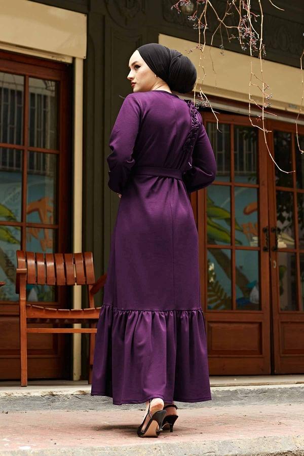 Omuz Fırfırlı Elbise 220SH-6741 Mürdüm