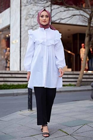 Omuz Fırfırlı Gömlek 350TH-1032 Beyaz - Thumbnail