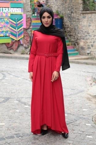 - Omuzları Fırfır Detaylı Kemerli Elbise MDP.5201-2