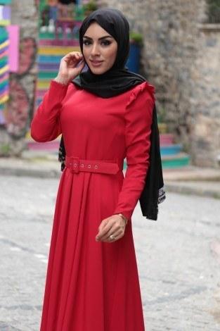 - Omuzları Fırfır Detaylı Kemerli Elbise MDP.5201-2 (1)