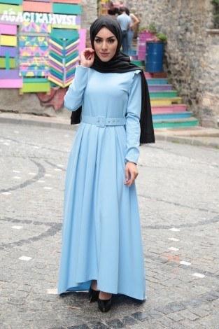 - Omuzları Fırfır Detaylı Kemerli Elbise MDP.5201-3