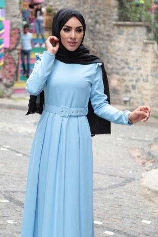 - Omuzları Fırfır Detaylı Kemerli Elbise MDP.5201-3 (1)