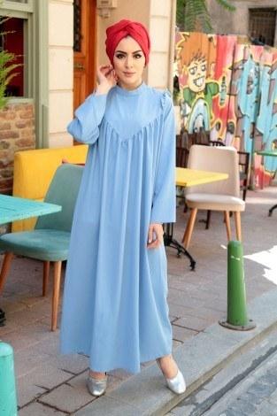 - Omuzları Fırfırlı Elbise Elifnur 3057-6