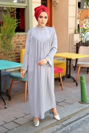 - Omuzları Fırfırlı Elbise Elifnur 3057-5