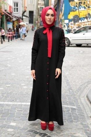 - Omuzları İncili Ferace Elbise 8972-1-siyah