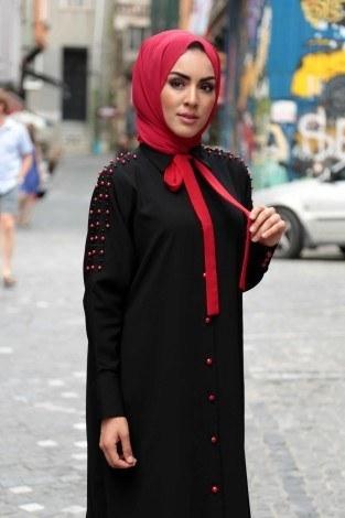 - Omuzları İncili Ferace Elbise 8972-1-siyah (1)