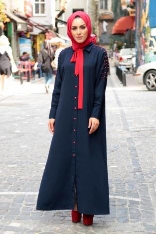 - Omuzları İncili Ferace Elbise 8972-3-lacivert