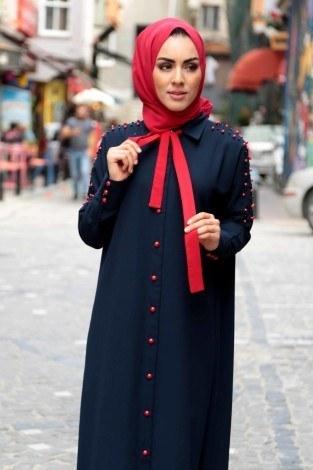 - Omuzları İncili Ferace Elbise 8972-3-lacivert (1)
