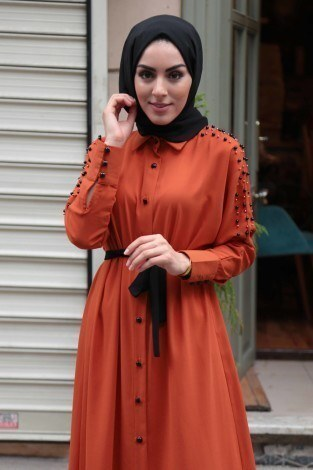 - Omuzları İncili Ferace Elbise 8972-6 (1)