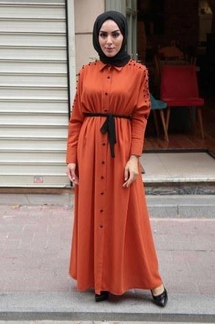 - Omuzları İncili Ferace Elbise 8972-6
