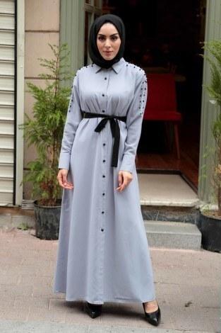 - Omuzları İncili Ferace Elbise 8972-7