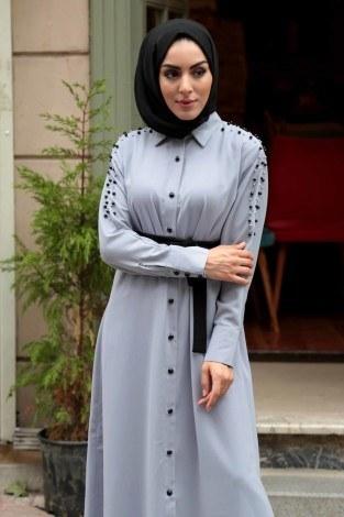 - Omuzları İncili Ferace Elbise 8972-7 (1)