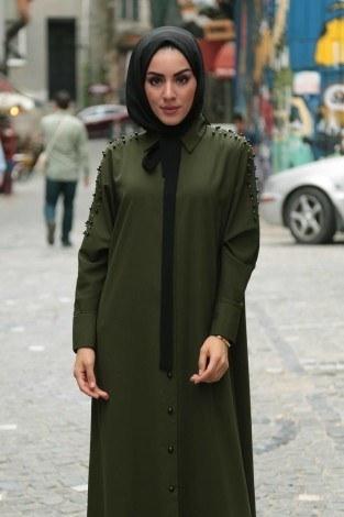 - Omuzları İncili Ferace Elbise 8972-5 (1)
