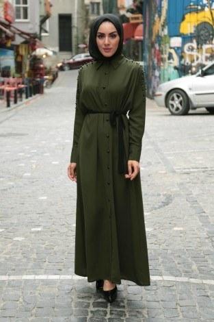 - Omuzları İncili Ferace Elbise 8972-5
