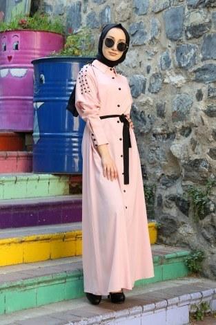 - Omuzları İncili Ferace Elbise 8972-2
