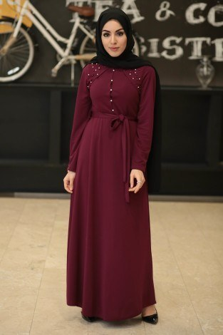 - Omzu İnci Detaylı Belden Kuşaklı Tesettür Elbise 23420-03