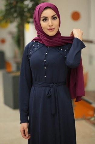- Omzu İnci Detaylı Belden Kuşaklı Tesettür Elbise 23420-06 (1)