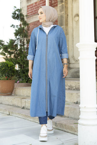 Önü Boydan Fermuarlı Kapüşonlu Elbise Ferce 17627-2 - Thumbnail
