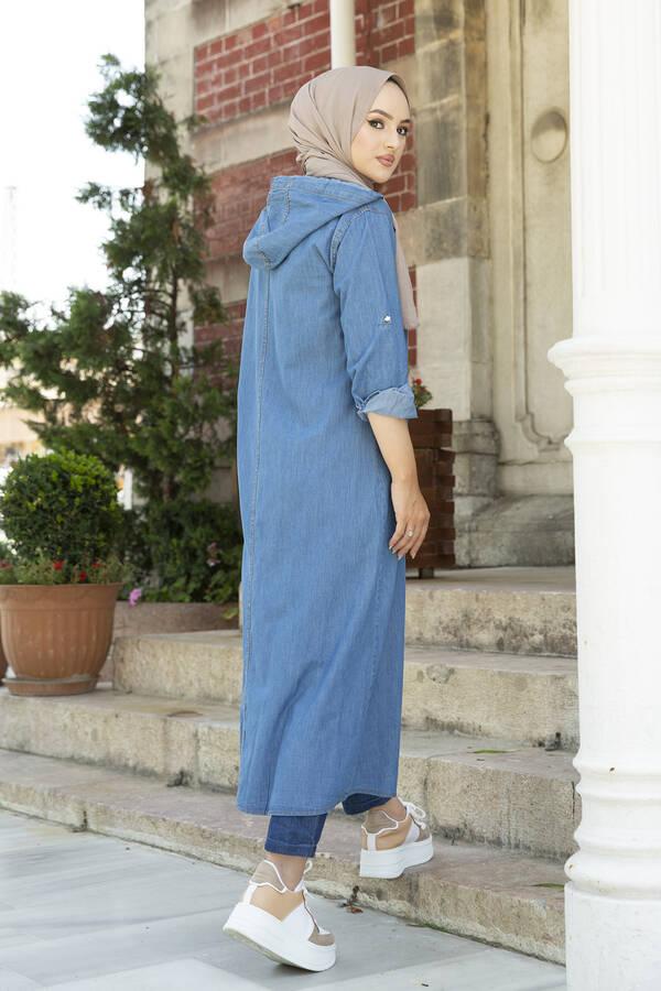 Önü Boydan Fermuarlı Kapüşonlu Elbise Ferce 17627-2